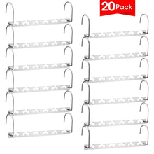 Load image into Gallery viewer, Selection meetu space saving hangers wonder multifunctional clothes hangers stainless steel 6x2 slots magic hanger cascading hanger updated hook design closet organizer hanger pack of 20
