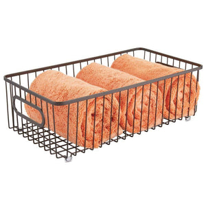 Best seller  mdesign metal bathroom storage organizer basket bin farmhouse wire grid design for cabinets shelves closets vanity countertops bedrooms under sinks large 4 pack bronze