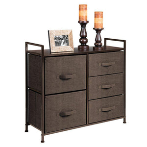Purchase mdesign wide dresser storage tower sturdy steel frame wood top easy pull fabric bins organizer unit for bedroom hallway entryway closets textured print 5 drawers espresso brown