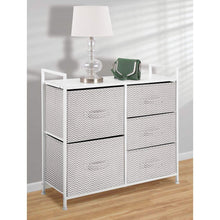 Load image into Gallery viewer, Top mdesign wide dresser storage tower sturdy steel frame wood top easy pull fabric bins organizer unit for bedroom hallway entryway closets chevron print 5 drawers taupe white