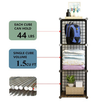 Load image into Gallery viewer, Shop here unicoo multi use diy 12 cube wire grid organizer bookcase bookshelf storage cabinet wardrobe closet toy organizer wire cube storage black wire