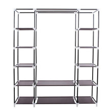 Load image into Gallery viewer, Buy now amashion 69 5 tier portable clothes closet wardrobe storage organizer with non woven fabric quick and easy to assemble dark brown