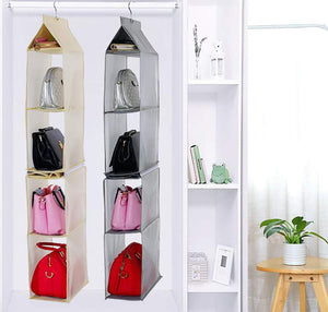 Explore ixaer detachable hanging handbag organizer purse bag collection storage holder wardrobe closet hatstand 4 compartment beige