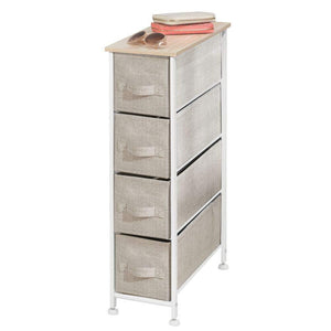 Shop mdesign narrow vertical dresser storage tower sturdy frame wood top easy pull fabric bins organizer unit for bedroom hallway entryway closets textured print 4 drawers light tan white