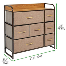Load image into Gallery viewer, Shop here mdesign wide dresser storage chest sturdy steel frame wood top easy pull fabric bins organizer unit for bedroom hallway entryway closet textured print 7 drawers coffee espresso brown
