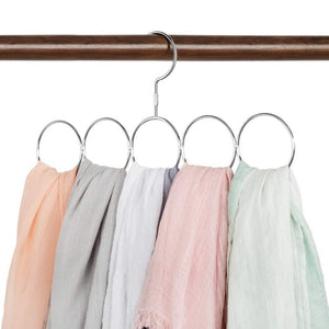 Budget friendly poeland 1kuan scarf closet organizer hanger no snag storage scarves ties belts shawls pashminas 2 pack