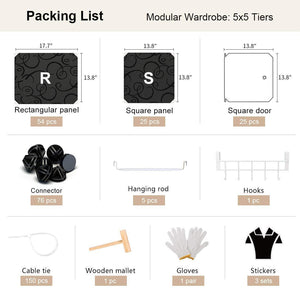 Organize with george danis portable wardrobe clothes closet plastic dresser multi use modular cube storage organizer bedroom armoire black 18 inches depth 5x5 tiers