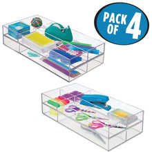 Load image into Gallery viewer, Storage organizer mdesign plastic divided drawer organizer for home office desk drawer shelf closet holds highlighters pens scissors adhesive tape paper clips note pads 4 sections 16 long 4 pack clear