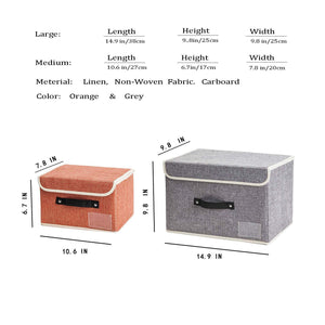 Buy janes home 4 pack storage bins boxes linen collapsible cube set organizer basket with lid handle foldable fabric containers for clothes toys closet office nursery grey and orange