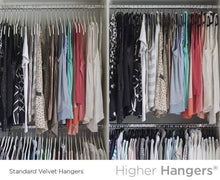 Load image into Gallery viewer, New higher hangers space saving velvet clothes hangers slimline heavy duty closet organizers helps reduce wrinkles and clutter great for dorms and increasing closet space 40 pack black velvet