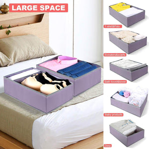 On amazon drawer organizer clothes dresser underwear organizer washable deep socks bra large boxes storage foldable removable dividers fabric basket bins closet t shirt jeans leggings nursery baby clothing gray