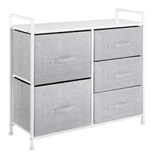 Load image into Gallery viewer, Budget friendly mdesign wide dresser storage tower sturdy steel frame wood top easy pull fabric bins organizer unit for bedroom hallway entryway closets textured print 5 drawers gray white