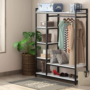 Budget little tree free standing closet organizer heavy duty clothes rack with 6 shelves and handing bar large closet storage stytem closet garment shelves