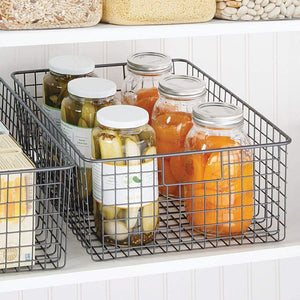 Organize with mdesign farmhouse decor metal wire food organizer storage bin baskets with handles for kitchen cabinets pantry bathroom laundry room closets garage 4 pack graphite gray