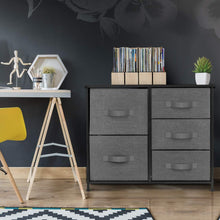 Load image into Gallery viewer, Great sorbus dresser with 5 drawers furniture storage tower unit for bedroom hallway closet office organization steel frame wood top easy pull fabric bins black charcoal