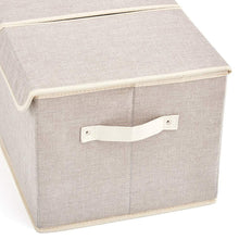 Load image into Gallery viewer, Exclusive large storage boxes 3 pack ezoware large linen fabric foldable storage cubes bin box containers with lid and handles for nursery closet kids room toys baby products silver gray
