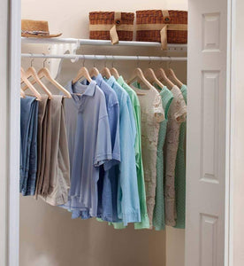 Get expandable closet rod and shelf units with 1 end bracket finish white