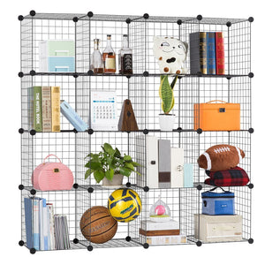 Order now langria metal wire storage cubes modular shelving grids diy closet organization system bookcase cabinet 16 regular cube