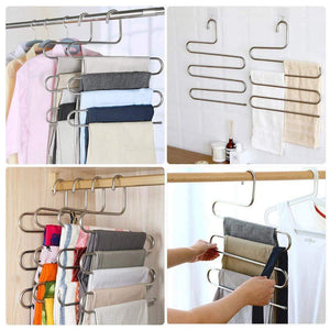 On amazon ycammin pants hangers s type stainless steel trousers rack 5 layers multi purpose closet hangers saver storage rack for clothes towel scarf trousers tie etc2 pcs