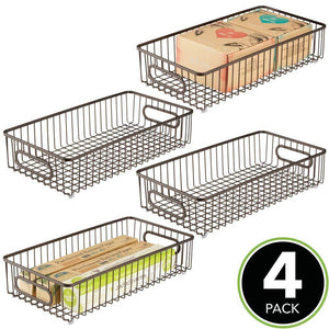 Save on mdesign extra long household metal drawer organizer tray storage organizer bin basket built in handles for kitchen cabinets drawers pantry closet bedroom bathroom 8 wide 4 pack bronze