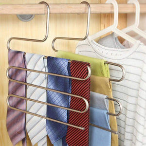 New ycammin pants hangers s type stainless steel trousers rack 5 layers multi purpose closet hangers saver storage rack for clothes towel scarf trousers tie etc2 pcs