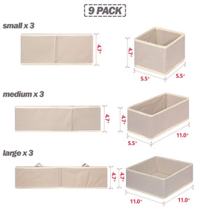 On amazon diommell 9 pack foldable cloth storage box closet dresser drawer organizer fabric baskets bins containers divider with drawers for baby clothes underwear bras socks lingerie clothing beige 333