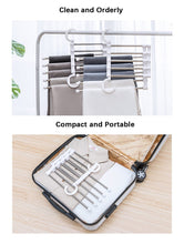 Load image into Gallery viewer, Cheap isue set of 2pcs 5 in 1 portable stainless steel clothes pants hangers closet storage organizer for pants jeans hanging 13 38 x 7 2in