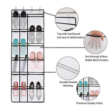 Load image into Gallery viewer, Get kootek 2 pack over the door shoe organizers 12 mesh pockets 6 large mesh storage various compartments hanging shoe organizer with 8 hooks shoes holder for closet bedroom white 59 x 21 6 inch