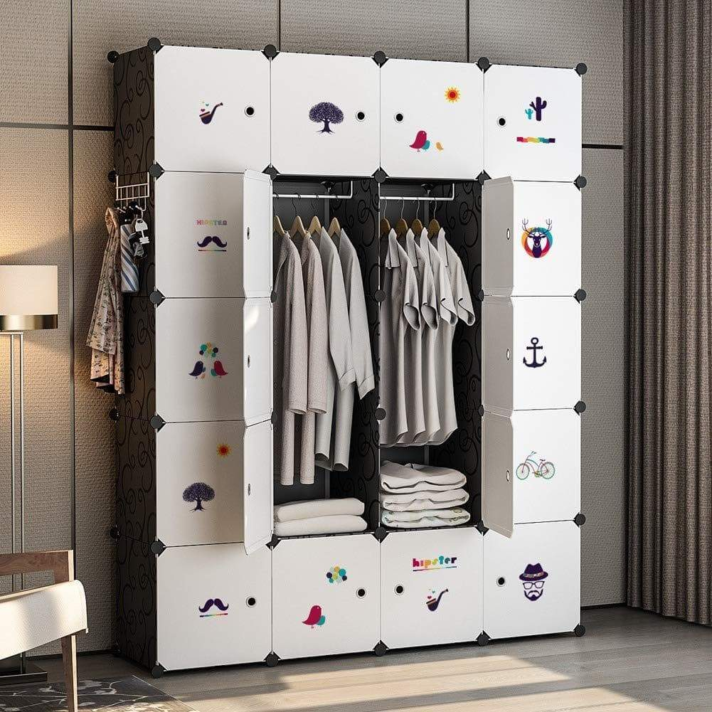 Amazon best yozo closet organizer portable wardrobe cloth storage bedroom armoire cube shelving unit dresser cabinet diy furniture black 20 cubes