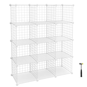Modular White Metal Wire Cube Storage ,12-Cubes