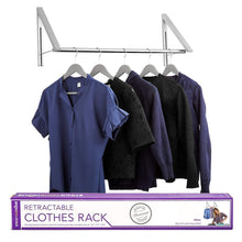 Load image into Gallery viewer, The best stock your home retractable closet rod and clothes rack wall mounted folding clothes hanger drying rack for laundry room closet storage organization aluminum easy installation silver