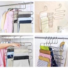 Load image into Gallery viewer, Top 4 pack s type hanger for clothing closet storage stainless steel pants hangers with 5 layers multi purpose loveyal limited space storage rack for trousers towels scarfs ties jeans 4