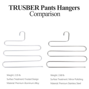Amazon best trusber stainless steel pants hangers s shape metal clothes racks with 5 layers for closet organization space saving for pants jeans trousers scarfs durable and no distortion silver pack of 4