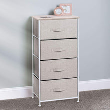 Load image into Gallery viewer, Products mdesign vertical furniture storage tower sturdy steel frame wood top easy pull fabric bins organizer unit for bedroom hallway entryway closets textured print 4 drawers linen natural