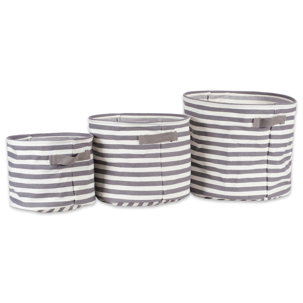 Shop for dii fabric round room nurseries closets everyday storage needs asst set of 3 gray stripe laundry bin assorted sizes