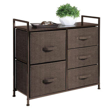 Load image into Gallery viewer, Products mdesign wide dresser storage tower sturdy steel frame wood top easy pull fabric bins organizer unit for bedroom hallway entryway closets textured print 5 drawers espresso brown