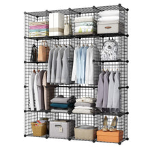 Load image into Gallery viewer, Selection kousi wire storage cubes modular metal cubbies organizer customizable metal rack cloths closet cubes storage shelves multifuncation shelving unit 8 cubes 4 hanging sections