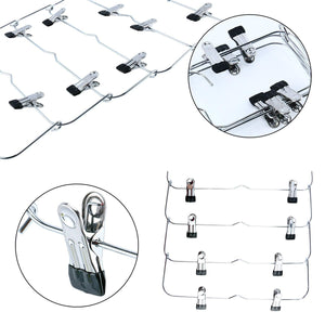Budget homend 6 tier skirt hangers foldable pants hangers closet organizer stainless steel fold up space saving hangers 5 pack