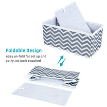 Load image into Gallery viewer, Latest storage bins ispecle foldable cloth storage cubes drawer organizer closet underwear box storage baskets containers drawer dividers for bras socks scarves cosmetics set of 6 grey chevron pattern