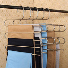 Load image into Gallery viewer, Great peiosendor s type pants hangers multi purpose stainless steel magic closet hangers space saver storage rack for hanging jeans scarf tie family economical storage 3