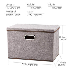 Shop prandom large collapsible storage bins with lids 3 pack linen fabric foldable storage boxes organizer containers baskets cube with cover for home bedroom closet office nursery 17 7x11 8x11 8