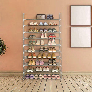 Blissun Shoe Racks Space Saving Non-Woven Fabric Shoe Storage Organizer Cabinet Tower (Grey)