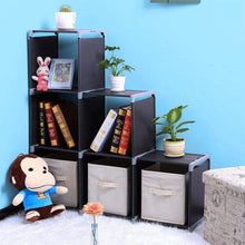 Load image into Gallery viewer, The best multifunctional assembled 3 tier 6 compartment storage cube closet organizer shelf 6 cubes bookcase storage black 6 cubes
