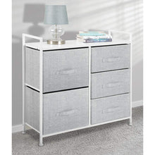 Load image into Gallery viewer, Budget mdesign wide dresser storage tower sturdy steel frame wood top easy pull fabric bins organizer unit for bedroom hallway entryway closets textured print 5 drawers gray white