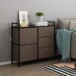 Products langria faux linen wide dresser storage tower with 5 easy pull drawer and handles sturdy metal frame and wooden table organizer unit for guest dorm room closet hallway office area dark brown
