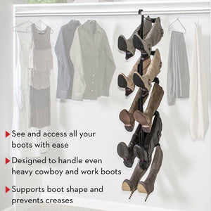 Discover the boot butler boot storage rack as seen on rachael ray clean up your closet floor with hanging boot storage easy to assemble built to last 5 pair hanger organizer shaper tree