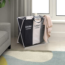 Load image into Gallery viewer, Featured qf laundry hamper with 3 sections foldable sorter laundry basket for bedroom laundry room bathroom college apartment and closet
