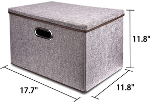 Featured large linen fabric foldable storage container 2 pack with removable lid and handles storage bin box cubes organizer gray for home office nursery closet bedroom living room
