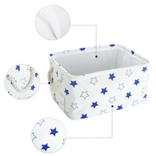 Load image into Gallery viewer, The best storage bin zonyon rectangular collapsible linen foldable storage container baby basket hamper organizer with rope handles for boys girls kids toys office bedroom closet gift basket blue star