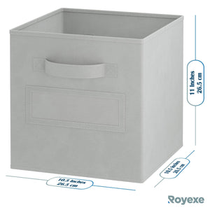 New royexe storage cubes set of 8 storage baskets features dual handles 10 window cards cube storage bins foldable fabric closet shelf organizer drawer organizers and storage light grey